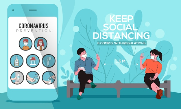Smartphone met coronaviruspictogram