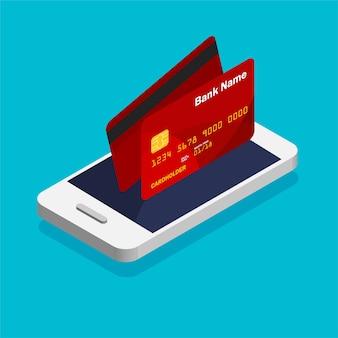 Smartphone met creditcard pictogram in trendy isometrische stijl. geldbeweging en online betaling. mobiel bankwezenconcept.