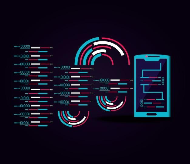 Smartphone met datacenterpictogram