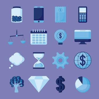 Smartphone met de vastgestelde financiën van de pictogrammeneconomie
