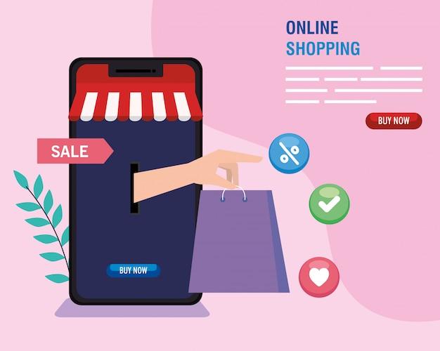 Smartphone met de zak van de handholding het winkelen van online e-commerce markt kleinhandels en koopt themaillustratie