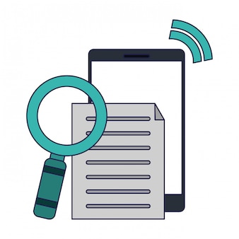 Smartphone met document en vergrootglas