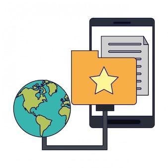 Smartphone met documentomslag en wereldsymbool