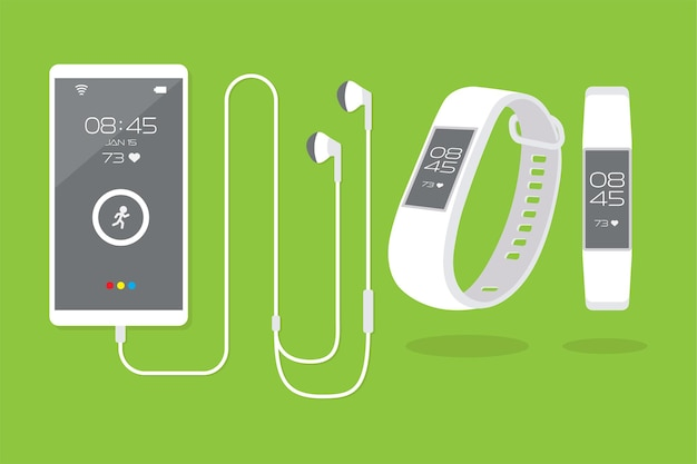 Smartphone met draagbare technologie en fitnesstracker