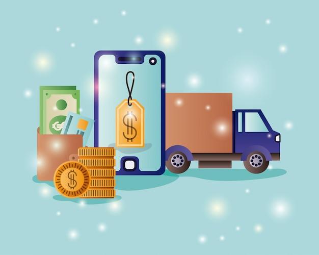 Smartphone met e-commerce pictogrammen