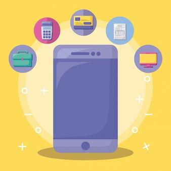Smartphone met economie en financieel met pictogramreeks