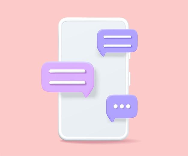 Smartphone met een chat-afbeelding vector graphics.
