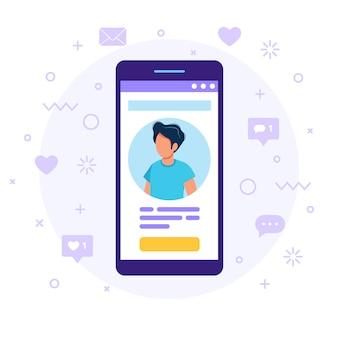 Smartphone met een man avatar, tekst en knop.