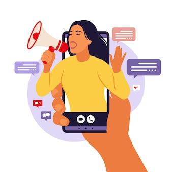 Smartphone met een meisje dat in luide spreker schreeuwt