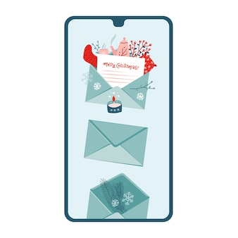 Smartphone met een nieuw feestelijk kerstbericht op het scherm. vlakke afbeelding.