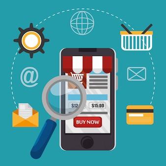 Smartphone met elektronische handel pictogrammen