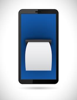 Smartphone met factuur check business concept pictogram