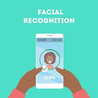 Smartphone met gezichtsherkenning