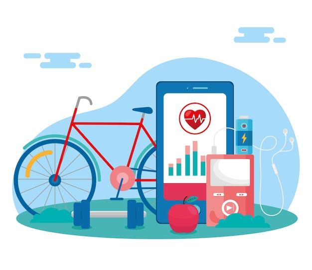 Smartphone met gezondheidsapp