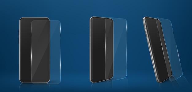 Smartphone met glazen screenprotector filmset