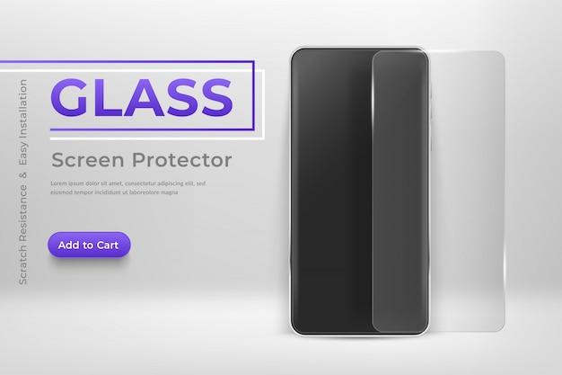 Smartphone met glazen screenprotector. mobiele telefoon en schermbeschermfolie moderne sjabloon voor mobiele telefoons in abstracte scène met transparant gehard glazen schild