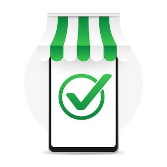 Smartphone met goedgekeurde teekmelding succesvolle bewerking vinkje telefoon met vinkjemelding