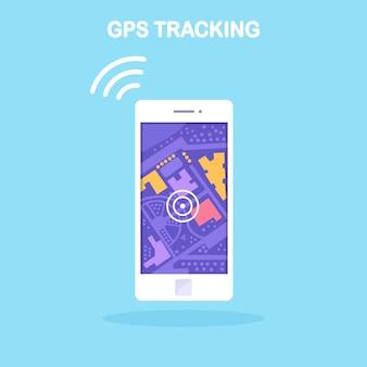 Smartphone met gps-navigatie-app, tracking. mobiele telefoon met kaarttoepassing