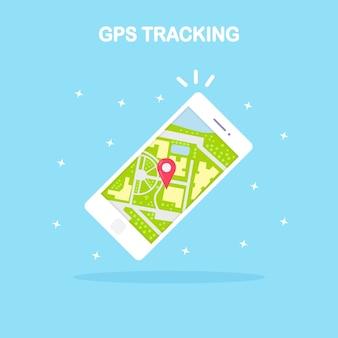 Smartphone met gps-navigatie-app-tracking witte mobiele telefoon met kaarttoepassingsteken