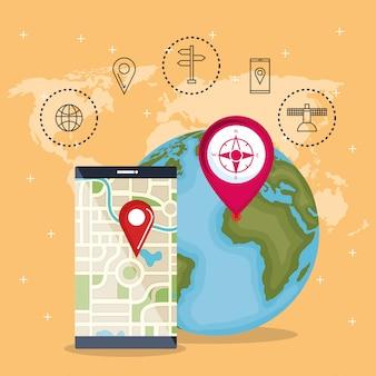 Smartphone met gps-navigatie-app