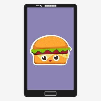 Smartphone met hamburger vectorillustratie in platte cartoon stijl. fastfood achtergrond in het scherm. hamburger emoticon karakters leuk gezicht. vector illustratie eps 10 voor uw ontwerp.