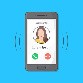 Smartphone met inkomende oproep op display-afbeelding.