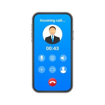 Smartphone met inkomende oproep op het display. binnenkomend telefoongesprek. illustratie.