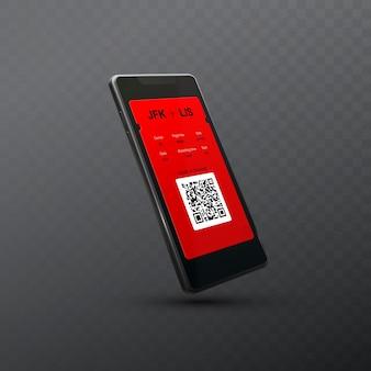 Smartphone met instapkaart voor vlucht land qr-code