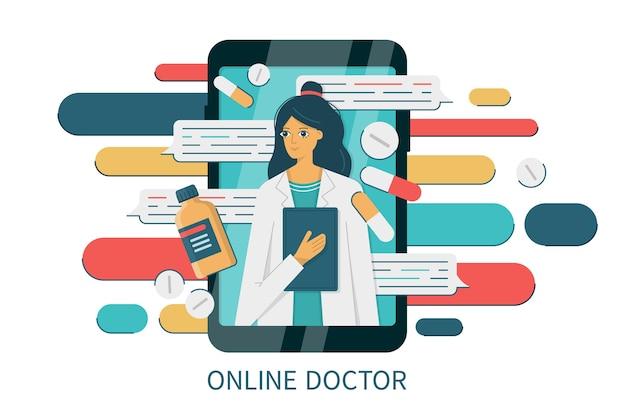 Smartphone met internetchat met een vrouwelijke arts. medische online diagnostiek en consult