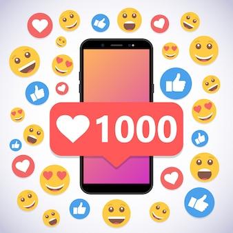 Smartphone met kennisgeving 1000 likes en smile voor sociale media