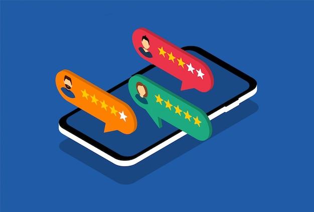 Smartphone met klantbeoordeling. feedback. sociale media.