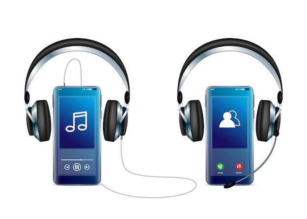 Smartphone met koptelefoon minimale vector pictogram voor web en mobiel uit symmetrie iconen collectie.