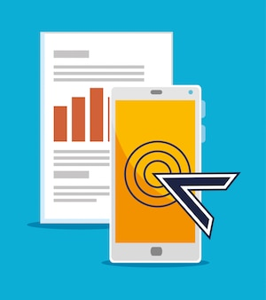 Smartphone met muiscursor en bedrijfsinformatie