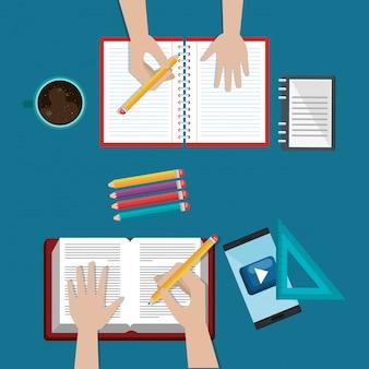 Smartphone met onderwijs eenvoudig e-learning pictogrammen