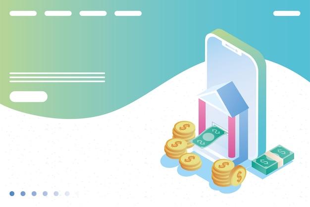 Smartphone met online bankpictogrammen