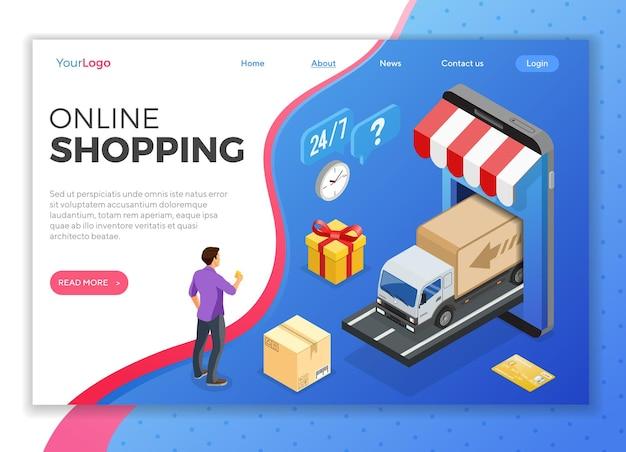 Smartphone met online levering, vak, mensen. internet winkelen en online elektronische betalingen concept. isometrische pictogrammen. sjabloon voor bestemmingspagina's. geïsoleerde vectorillustratie
