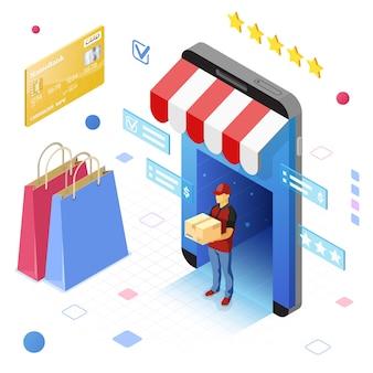 Smartphone met online winkel, levering, koerier. internet winkelen en online levering concept. isometrische pictogrammen. geïsoleerd