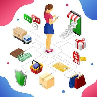Smartphone met ontvangstbewijs, geld, klant. internet winkelen en online