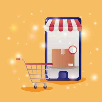 Smartphone met parasolecommercepictogrammen