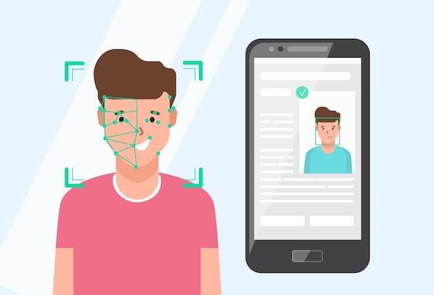 Smartphone met portret van glimlachende man zit naast op het scherm.