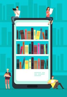 Smartphone met reader-app en mensen die boeken lezen.