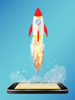 Smartphone met speelgoed ruimteraket