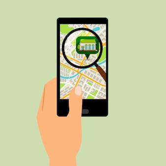 Smartphone met supermarktlocatiekaart