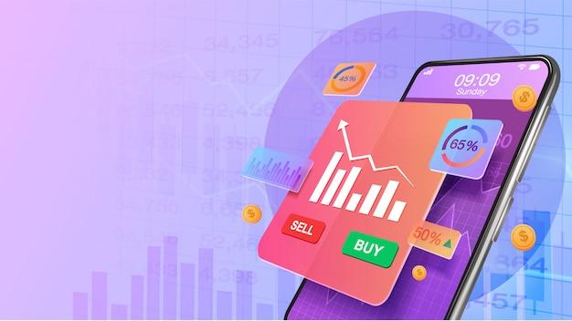 Smartphone met toename van marktaandeel investeringen en economische groei grafiek. beurs, bedrijfsgroei, strategie schaven concept. online investeren.