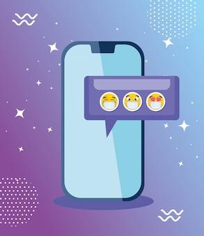 Smartphone met vastgestelde emoji's, gele gezichten in toespraakbel met vector de illustratieontwerp van het smartphoneapparaat