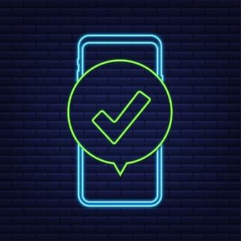 Smartphone met vinkje of vinkje in bubbel goedgekeurde keuze