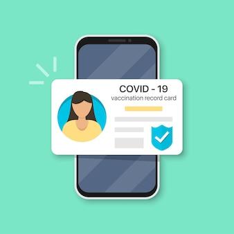 Smartphone met vrouw covid-19 vaccinatie record kaart. immuniteit covid-19-certificaat in een plat ontwerp