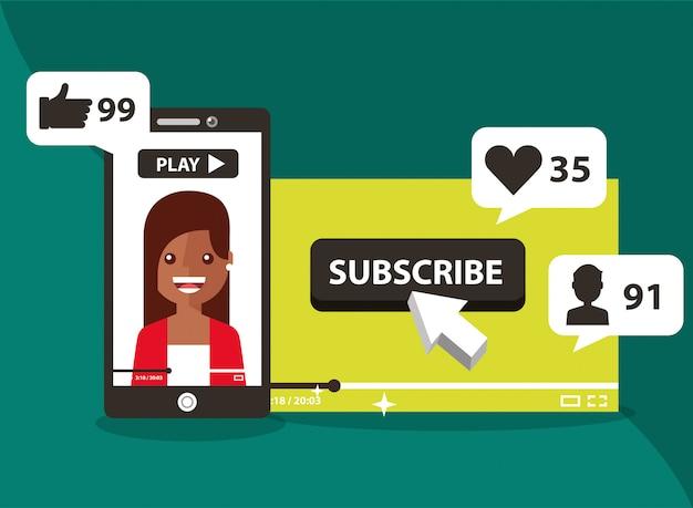 Smartphone met vrouw op scherm abonneren als liefde volgen