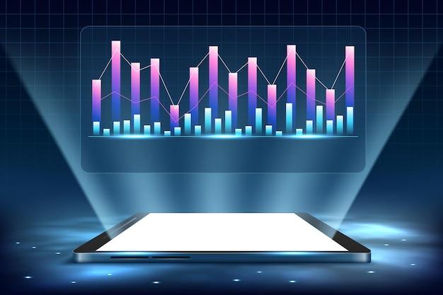 Smartphone met zakelijke grafiek en analysegegevens