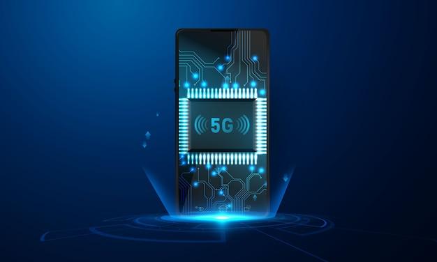 Smartphone met zakelijke grafiek en analytische gegevens 5g abstracte technologie communicatie concept achtergrond
